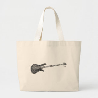 Bass Shaped Word Cloud - Black Text Canvas Bags