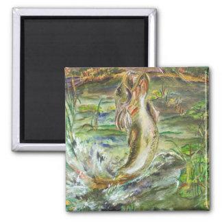 Bass Splash Watercolor Art Custom Square Magnet
