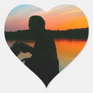 Bass Sunset Heart Sticker
