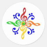 Bass & Treble Clef Design Classic Round Sticker