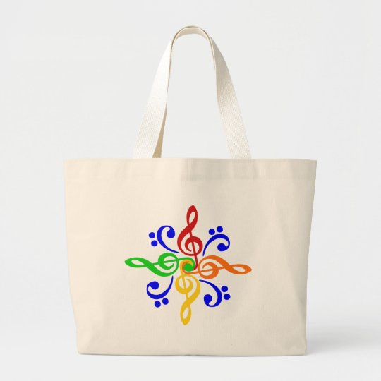 Bass & Treble Clef Design Large Tote Bag
