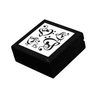 Bass Treble Clef Heart Music Pattern Tile Box