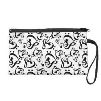 Bass Treble Clef Hearts Music Notes Pattern Bag