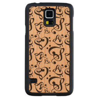 Bass Treble Clef Hearts Music Notes Pattern Carved Cherry Galaxy S5 Case