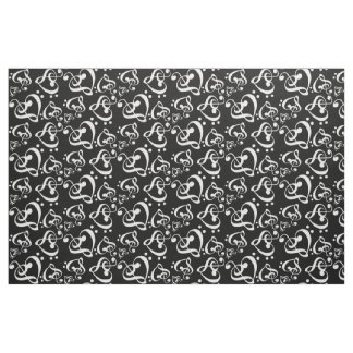 Bass Treble Clef Hearts Music Notes Pattern Fabric