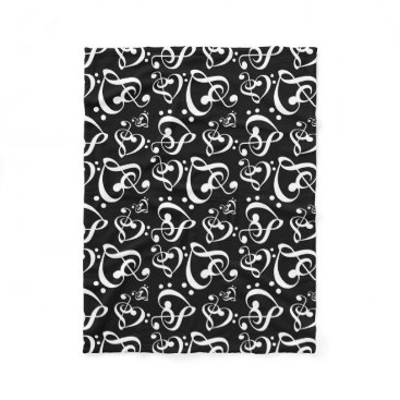 Valentines Themed Bass Treble Clef Hearts Music Notes Pattern Fleece Blanket