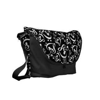 Bass Treble Clef Hearts Music Notes Pattern Messenger Bag