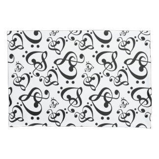 Bass Treble Clef Hearts Music Notes Pattern Pillowcase