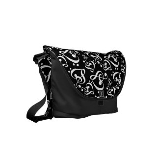 Bass Treble Clef Hearts Music Notes Pattern Small Messenger Bag