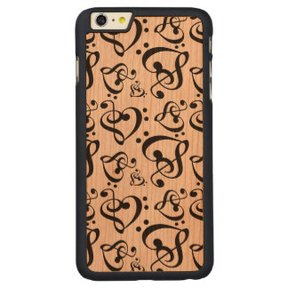 Bass Treble Clef Hearts Music Notes Pattern Carved® Cherry iPhone 6 Plus Case