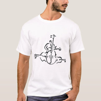 Bass, Upright and Electric Outlines with Man T-Shirt
