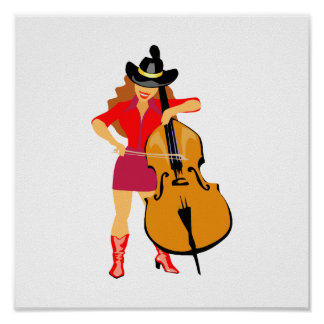 bass upright player cowgirl red.png poster