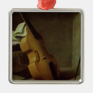 Bass Viol, Score Sheet and a Sword, 1693 Metal Ornament