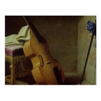 Bass Viol, Score Sheet and a Sword, 1693 Postcard