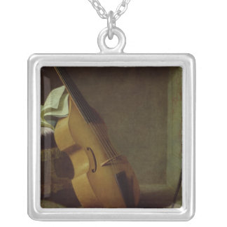 Bass Viol, Score Sheet and a Sword, 1693 Square Pendant Necklace