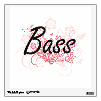 Bass with flowers background wall graphic