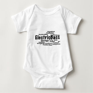 Bass Word Cloud - Black Text Baby Bodysuit