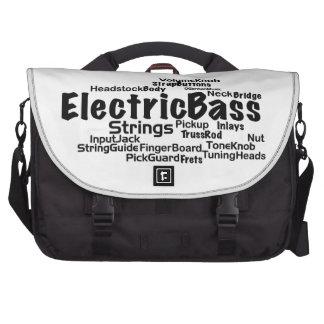 Bass Word Cloud - Black Text Laptop Bag