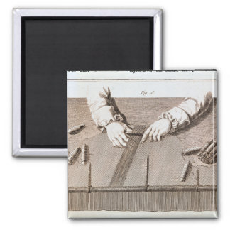 Basse-Lisse technique at the Gobelins tapestry 2 Inch Square Magnet