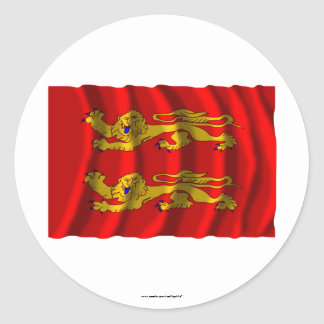Basse-Normandie waving flag Classic Round Sticker