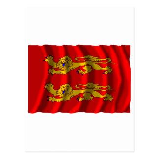 Basse-Normandie waving flag Postcard