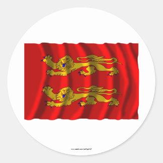 Basse-Normandie waving flag Classic Round Sticker