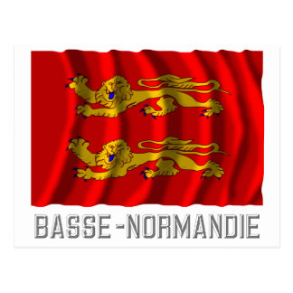 Basse-Normandie waving flag with name Postcard