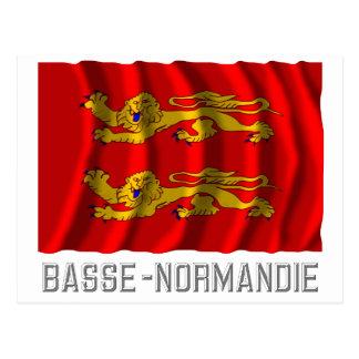 Basse-Normandie waving flag with name Postcard