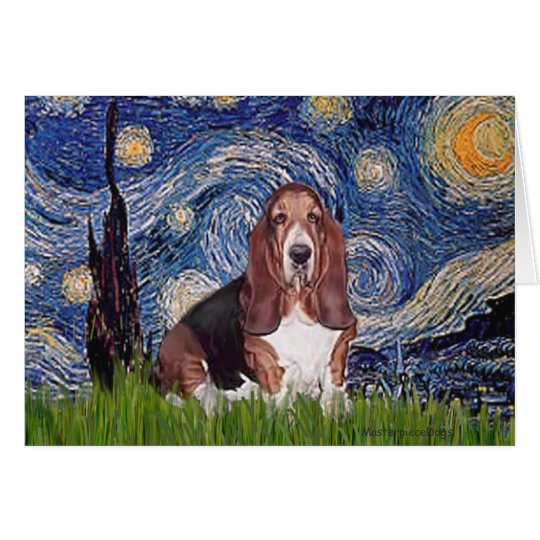 Basset 1 - Starry Night Card
