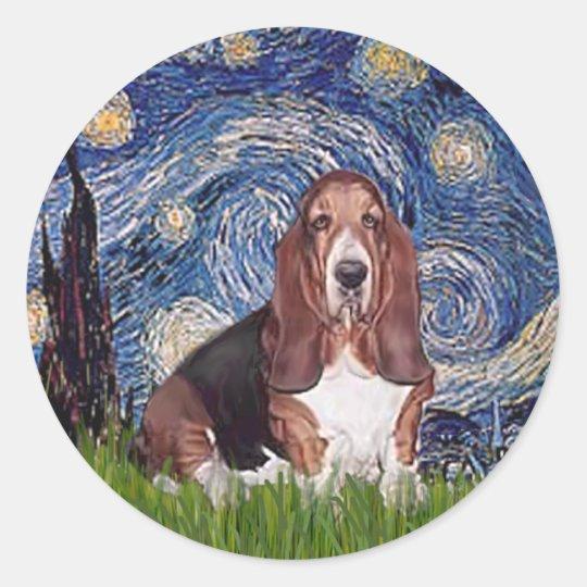 Basset 1 - Starry Night Classic Round Sticker