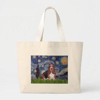 Basset 1 - Starry Night Large Tote Bag
