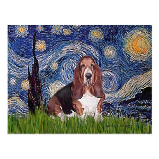 Basset 1 - Starry Night Postcard