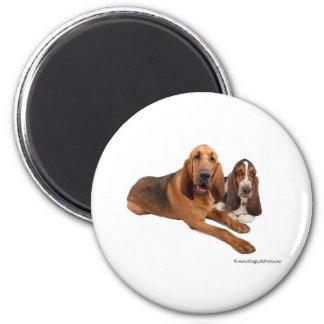 Basset and Bloodhound Buddies 2 Inch Round Magnet