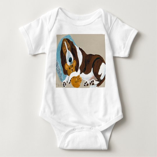 Basset Asleep With Teddy Bear Baby Bodysuit
