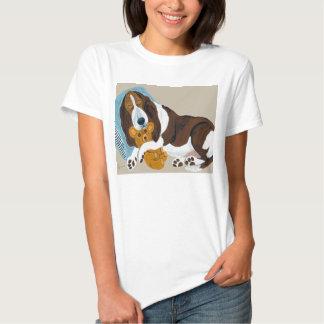 Basset Asleep With Teddy Bear T-shirt