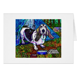 """Basset Camping"" Greetings Card"