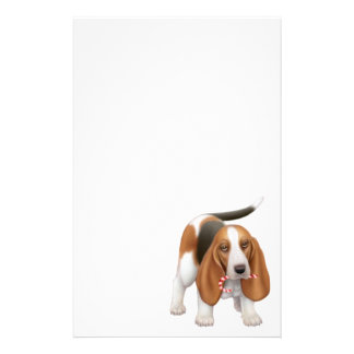Basset Candy Cane Thief Stationery