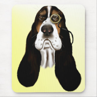 Basset Face and Monocle  Mousepad