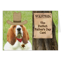 """Basset """"Father's Day"""" Card with Cowboy Theme"""