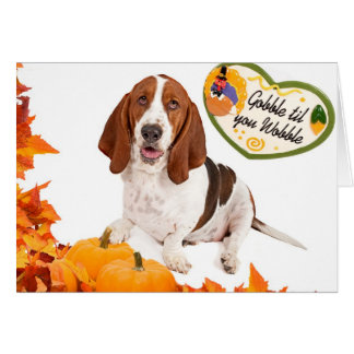 Basset Happy Thanksgiving Card