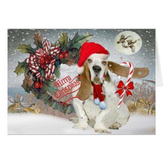 Basset Has The Spirit Of Christmas Greeting Card