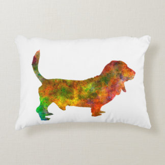 Basset Hound 01 in watercolor 2 Accent Pillow