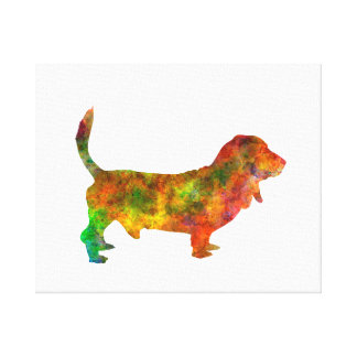 Basset Hound 01 in watercolor 2 Canvas Print