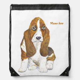 Basset Hound, add name optional Drawstring Bag