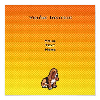 """Basset Hound amarillo Invitación 5.25"""" X 5.25"""""""