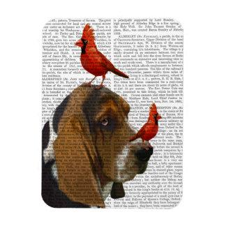 Basset Hound and Birds Magnet