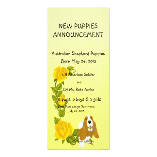Basset Hound and Yellow Roses Card
