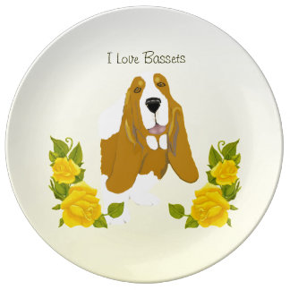 Basset Hound and Yellow Roses Dinner Plate