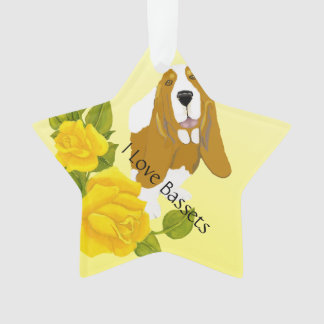 Basset Hound and Yellow Roses Ornament