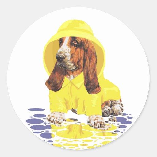 Basset Hound April Showers Round Sticker